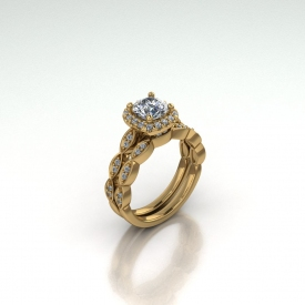 14kt yellow gold wedding set that has a cushion shaped halo and marquise shaped clusters going down either side. There are round brilliant cut accent diamonds set throughout both the engagement ring and the wedding band.