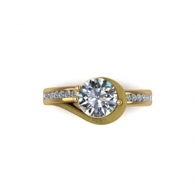 18kt yellow gold contemporary-style ring with channel set diamonds and a missy finish around the center stone