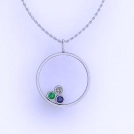 10kt white gold circle pendant with bezel set blue sapphire, emerald, and diamond.