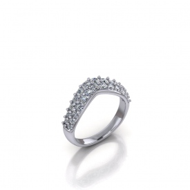 Platinum curved band with pave set round diamonds across the top.
