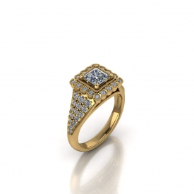 18kt yellow gold halo-style engagement ring that has a halo of bezel set round diamond surrounding a princess cut center stone, and pave set diamonds on the sides tapering down into a thin shank.
