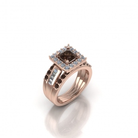 14kt rose gold wedding set with champagne and white diamonds set with a square halo surrounding a round champagne-color diamond center stone.