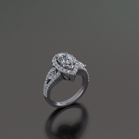 14kt white gold halo-style engagement ring with a pear-shaped diamond center stone, a split shank and marquise diamonds set between prong set diamonds.
