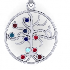 Silver family tree with multiple bezel set gemstones the represent birth stones.