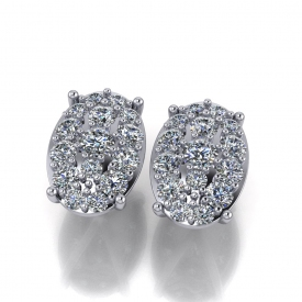 Platinum oval-cluster style earrings, there are multiple sizes of round brilliant cut diamonds set to resemble an oval.