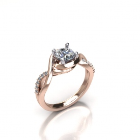 14kt rose gold engagement ring with a round brilliant cut center diamond that has a high polish under halo, a twist style shank with round brilliant cut diamonds that are set shared prong.