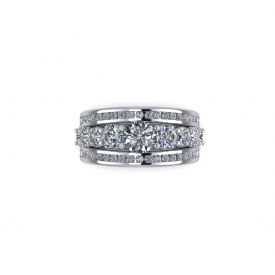 14kt white gold ring that has a center band of larger round brilliant cut diamonds that are prong set and two outer bands of round brilliant cut diamonds that are channel set.