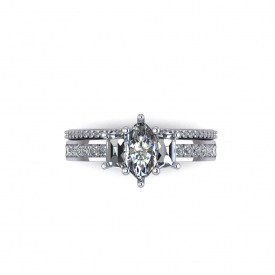 14kt white gold engagement ring with a marquise diamond center and trapezoid diamonds on either side, with channel set round diamonds down the sides.
