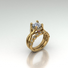 18kt yellow gold wedding set with a twist-style engagment ring that has amethyst accent stones and a wedding band with round brillinat cut diamonds in alternating marquise and round bezel shapes.