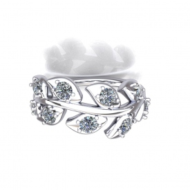 14kt white gold fashion ring with diamonds set in the center of each leaf design.