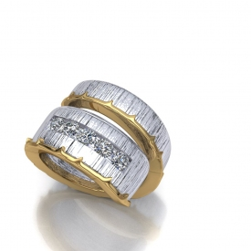 10kt white and yellow gold wrap-style fashion gents ring that has 5 round brilliant cut diamonds channel set in the center of the thicker portion, a tree bark-like finish in the white gold portion and a yellow gold twig-style wrap on the outer portion of the ring.
