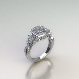 14kt white gold antique style engagement ring with a princess cut diamond center stone, a halo with round brilliant cut diamonds, and twisted sides that have larger round brilliant cut diamonds set within. The face of the ring has a beading inner channel and scroll work with a bezel set diamond under the halo.