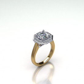 14kt two-tone engagement ring that has a high polish yellow gold shank and octagon shaped halo with round brilliant cut diamonds set within, the center stone is a round brilliant cut diamond.