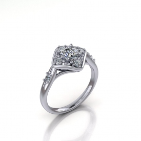 14kt white gold cluster-style ring with round brilliant cut diamonds set in a diamond shape, there is one diamond set on either side of the shank.