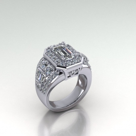 14kt white gold halo-style engagement ring with an emerald cut center diamond that has a halo of round brilliant cut diamonds set, there are round and baguette cut diamonds set down each side of the ring.