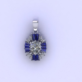 14kt white gold fashion pendant that has an european cut diamond in the center and round brilliant cut diamonds and baguette shaped blue sapphire gemstones surrounding the center.