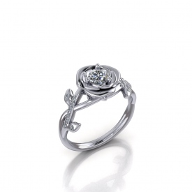 10kt white gold rose-style engagement ring with a round diamond set in the center of a rose-like halo, and leaf/vine design with diamonds set throughout.