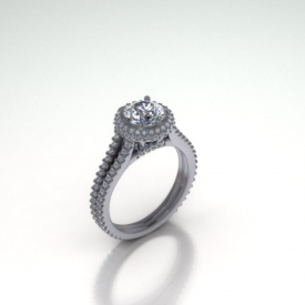 14kt white gold halo-style engagement ring with a round brilliant cut diamond, diamonds on top and on the sides of the halo, going down the split shank, and on the bridge under the halo.