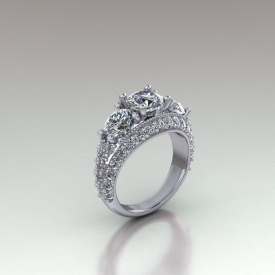 14kt white gold three-stone style engagement ring that has round brilliant cut diamonds set on all three sides of the ring, and three round brilliant cut diamonds as the center diamonds.