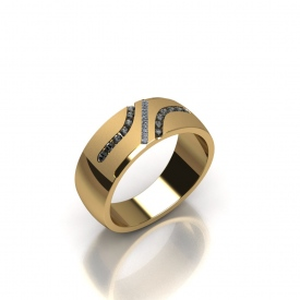 10kt yellow gold gents band that has two channels of round champagne colored diamonds, and a channel going through the middle of the band with princess cut diamonds.